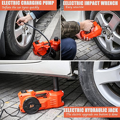 gearliv-floor-jack-12v-3tton-dc-electric-hydraulic-floor-jack-tire-inflation-pump-led-flashlight-3-in-1-set-with-electric-impact-wrench-car-repair-tool-kit-3-ton-for-ford-truck-suv