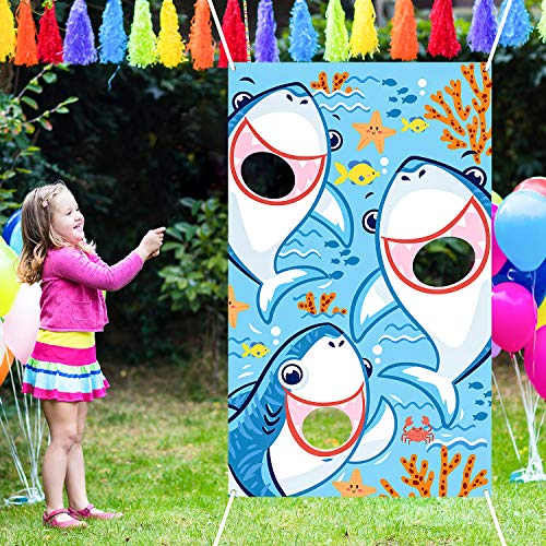 Blulu Shark Bean Bag Toss Games with 3 Bean Bags Shark Party Games Pack and Decoration for Baby Children Family Sea Ocean Theme Party Favor Supplies]()
