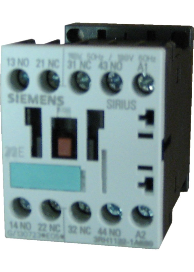 Siemens 3RH11 40-1AK60 Control Relay, Size S00, 35mm Standard Mounting Rail, AC Operation, Screw Connection, 40 E Identification Number, 4 NO + Contacts, 120 V 60 Hz Control Supply Voltage