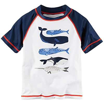 Carter's Boys' Navy and White Whale Rashguard Shirt (Size 6-9 Months)