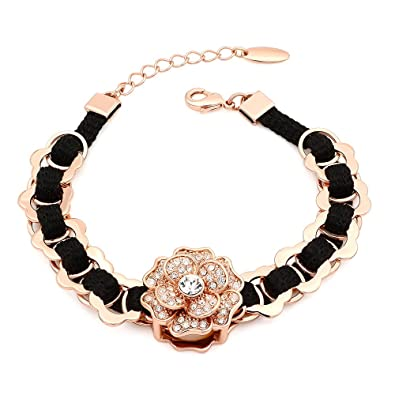 Kemstone Gold Plated Multi Color Crystals Flower Link Bracelet for Women,6.96