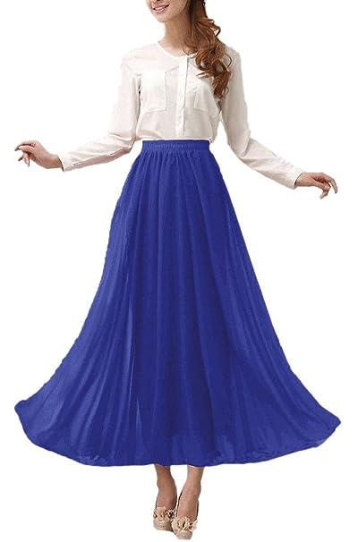 a56a9295df Afibi Womens Chiffon Retro Long Maxi Skirt Vintage Dress: Amazon.ca ...