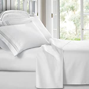Clara Clark 1800 Premier Series 4pc Bed Sheet Set - King, White,