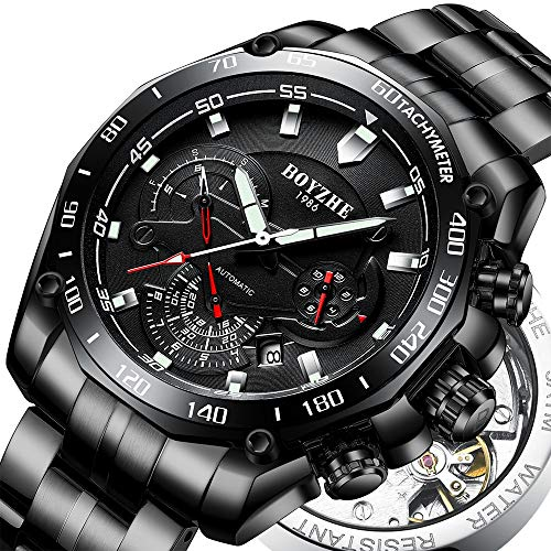 BOYZHE Men Automatic Mechanical Watch Luminous Luxury Brand Leather Business Fashion Casual Self-Wind Stainless Steel Sports Watches