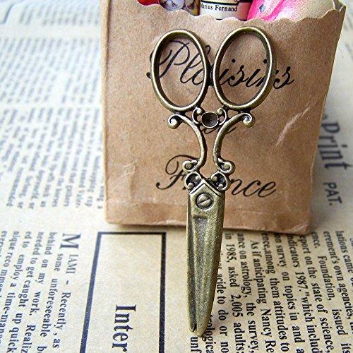 (8 pcs of Antique Bronze Barber Shop Stylist Scissors Charms 24x59mm (CB133))