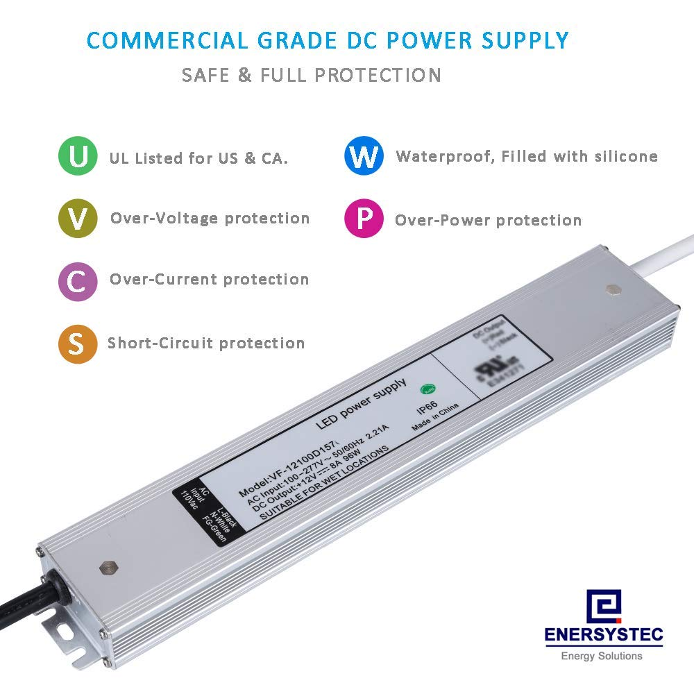 Ultra Thin 12v 8a Led Driver Ul Listed 96w Ip66 Waterproof Smps 50 Watt Street Light Circuit Electronic Switching Power Supply For Flexible Strip Outdoor Landscape Kitchen Lights