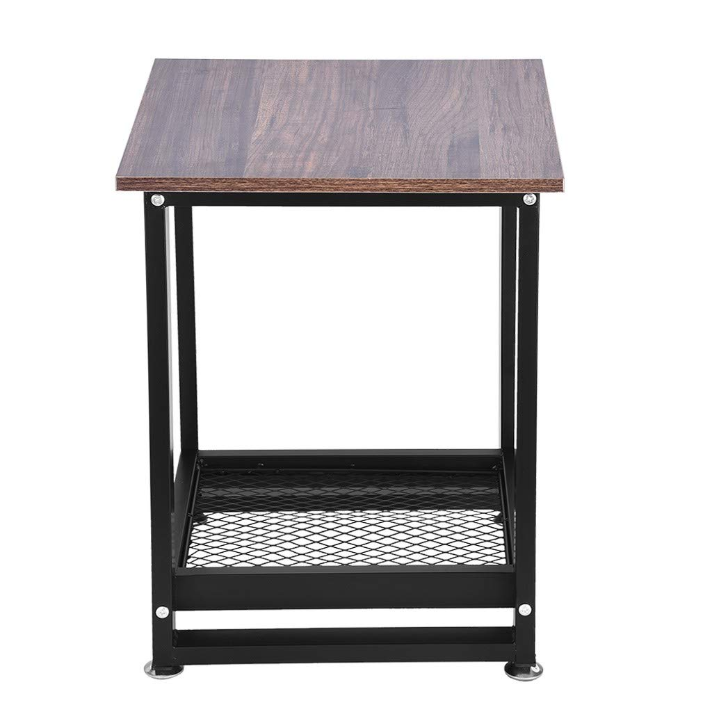Suesshop Tables, Bedside Table 2-Tier Storage Shelf End Table Creative Tea Desk Vintage Nightstand Coffee Table Desks for Small Spaces