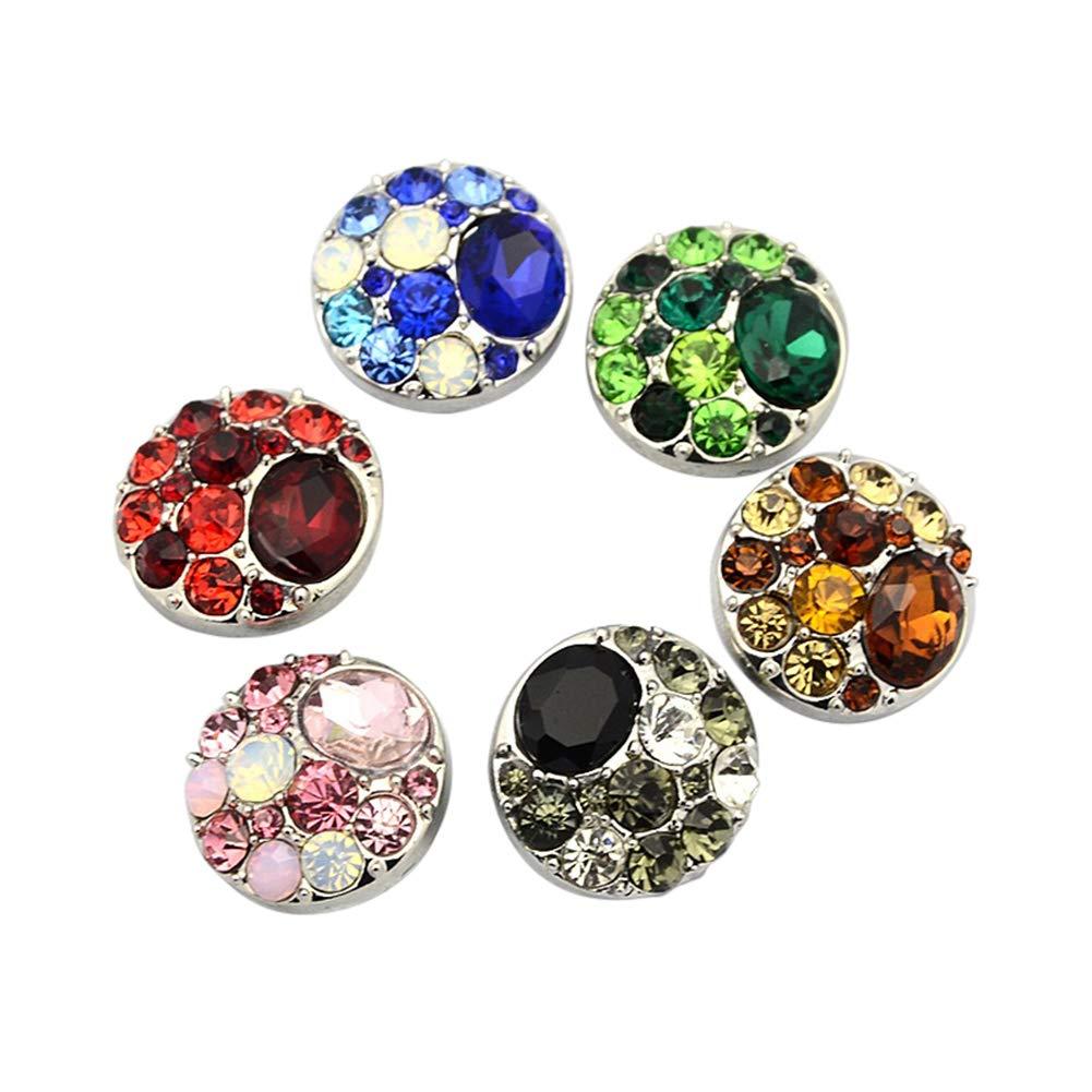 NBEADS - 5 botones de presión redondos planos de aleación de zinc de colores mixtos para bisutería y manualidades, 20 mm