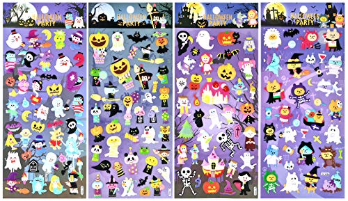 SET076-HW01 - Halloween Party Sticker with Skull, Skeleton, Ghost, Pumpkin, Witch, Vampires, Monster, Mummy, Wolf, Frankenstein (4 Different Sheets Reusable Puffy Decorative Scrapbooking Sticker Set) -