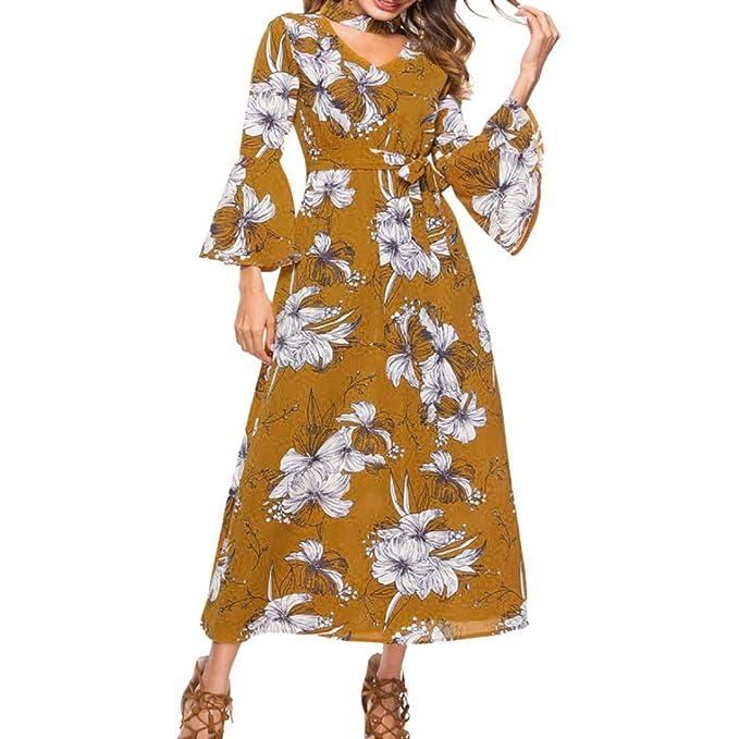 Vestidos De Fiesta Mujer Largos para Noche,Moda Largo Mangas Floreada V-Cuello Diario