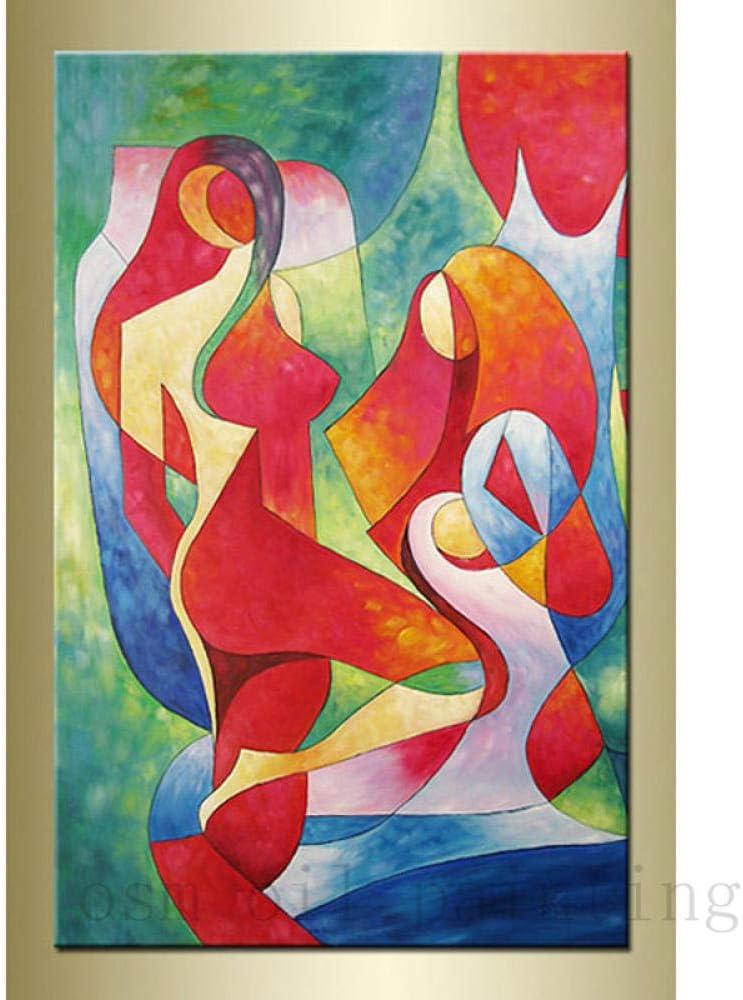 Cuadro al óleo Armonía Moderno Abstracto Desnudo sobre Lienzo Cuadro de Arte de Pared de Olas únicas imágenes de Lienzo Hotel Decorativo para el hogar-60x90CM-Sin Marco