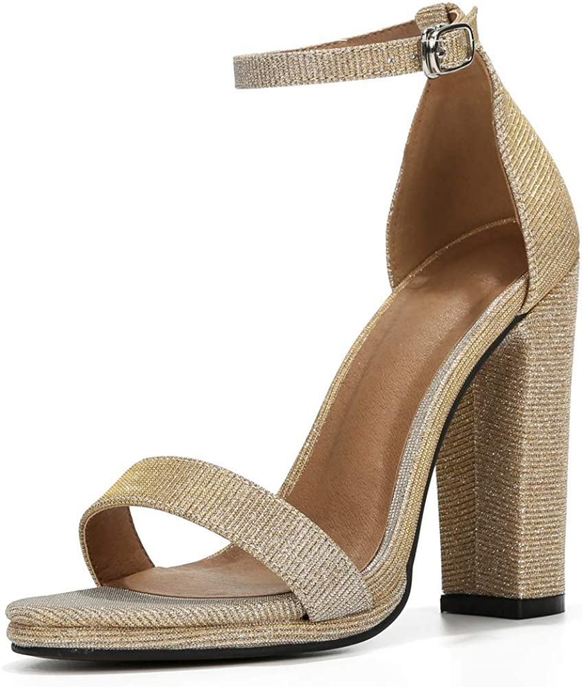 Womens Ankle Strap Block High Heel Sandals Open Toe Pumps Dress Party Shoes Glitter Gold-36 (230/US6)