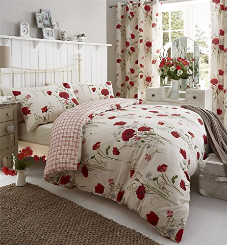 (MEADOW POPPY DAISY RED COTTON BLEND USA QUEEN SIZE (230CM X 220CM - UK KING SIZE) REVERSIBLE COMFORTER COVER SET)