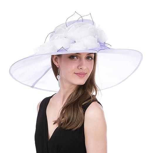 261b9ca87b7 SAFERIN Women s Organza Church Kentucky Derby Fascinator Bridal Tea Party Wedding  Hat(SF3-Wide