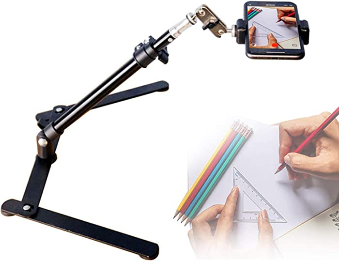 Webcam Mount Camera Tripod with Phone Holder, Overhead Phone Mount with Double Ball Head Adapter Desktop Tripod Teaching Online Stand for Food Making and Live Streaming, Live Commerce, Video Vlogging