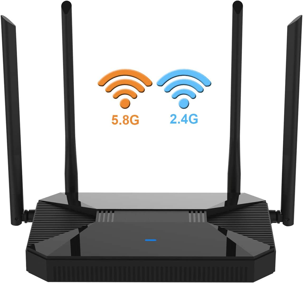 Newest 2020 Wireless WiFi Router High Speed Gaming Router Up to AC1200Mbps with Dual Band 2.4GHz and 5GHz Ideal for Home Office HD Video Streaming Works Great with Any Devices