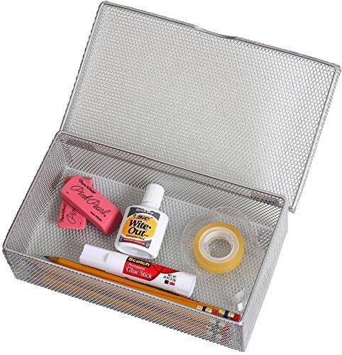 Ybm Home Silver Hinged Mesh Pencil, Markers, Pens Storage Box, School Supply Holder Office Desktop Organizer 2307 (1) ()