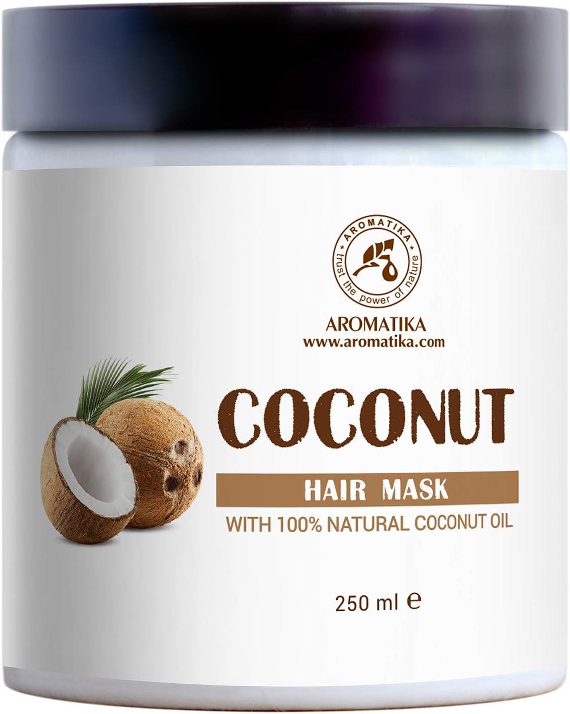 Mascarilla Capilar de Coco 250 ml - con 100% Aceite de Coco Natural - para Crecimiento y Volumen del Cabello - Sin Sulfato - Sin Parabenos - para Todo Tipo de Cabellos - Cuidado del Cabello