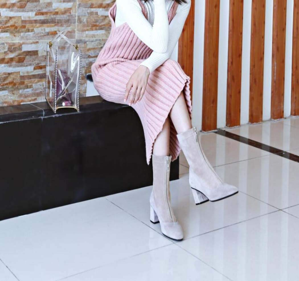 MISS&YG Damenstiefel Leder-Quadrat-Kopf Dick Mit Mit Mit Knöchelstiefeln Mit Fashion-Stars Mit Dem Gleichen Absatz Leggings Frauen Stiefel Kurze Stiefel 63e8de