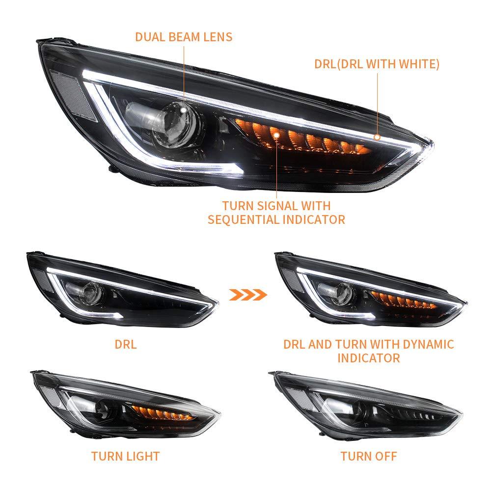 VLAND LED DRL Blocchi fari anteriori per Focus MK3 ST 2015-2018 Luce frontale con dinamica
