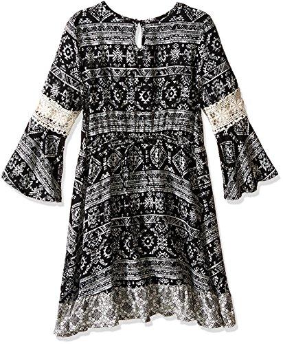 Beautees Big Girls' Boho Dress with Purse, Black, 12