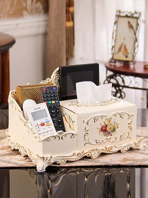 YHUJH Home Caja de pañuelos multifunción de cerámica Europea Decoraciones de Escritorio Creativas Adornos de Almacenamiento