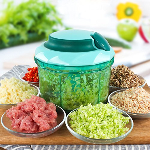 Hommii Food Chopper Pull String Manual Food Processor with Mixing Blade, Vegetable Slicer and Dicer, 900ML