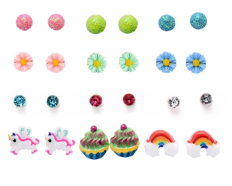 Lot de 12 paires boucles d'oreilles pour enfant fille licorne strass boules fleur bijoux d'oreille ONE TWO THREE DF-073