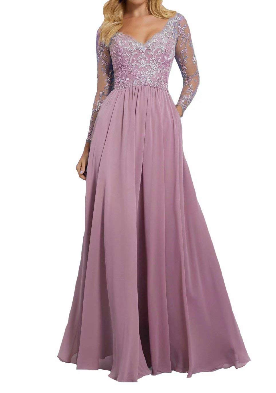 JOFE Women's Long Sleeves Mother of The Bride Dresse Lace Sweetheart Prom Party Dresses Rose Pink Extra Fabric