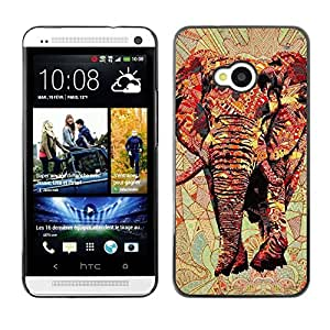 FECELL CITY // Duro Aluminio Pegatina PC Caso decorativo Funda Carcasa de Protección para HTC One M7 // Art Africa Red Majestic Jungle