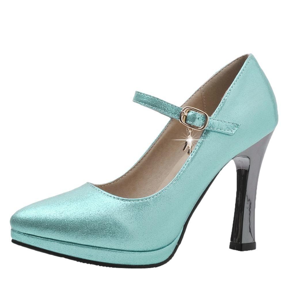 YE Damen Knöchelriemchen Pumps Stiletto High Heels Plateau mit Schnalle Elegant Schuhe  36 EU|Blau