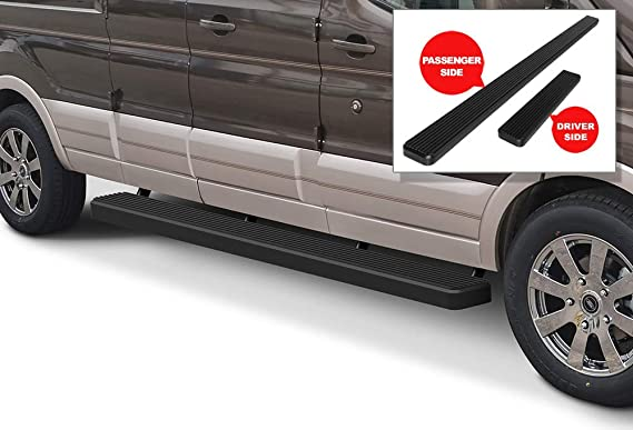 APS iBoard Running Boards (Nerf Bars Side Steps Step Bars) Compatible with 2015-2020 Ford Transit Full Size Van 3-Door (Black Powder Coated 6 inches)