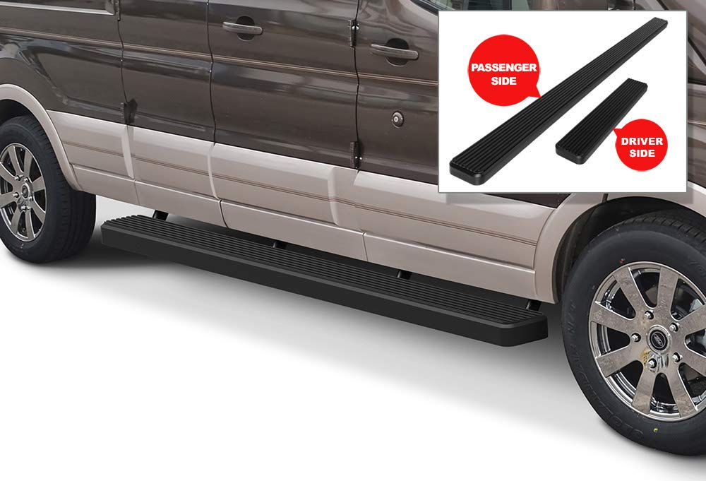 Black Powder Coated 5 inches Running Boards Nerf Bars Side Steps Step Rails Compatible with 2015-2020 Ford Transit Full Size Van 3-Door APS iBoard