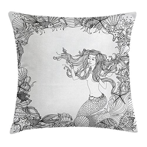 Mermaid Throw Pillow Cushion Cover by Ambesonne, Mermaid in Artsy Seashells Starfish Coral Reef Frame Ancient Culture Myth Artwork, Decorative Square Accent Pillow Case, 16 X 16 Inches, Grey - Sea Shell Frames