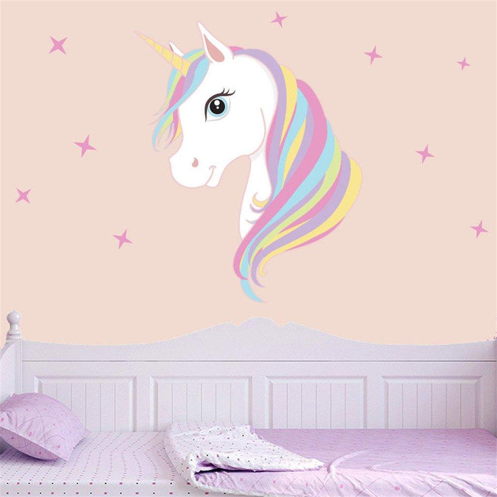 Adesivi murali stampa unicorno, rimozione bling stars art stickers fai da te bambini ragazze camera da letto decorazione murale (D) Kfnire