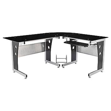 HomCom 64quot Modern L Shaped Dark Glasstop Office Workstation Computer Desk