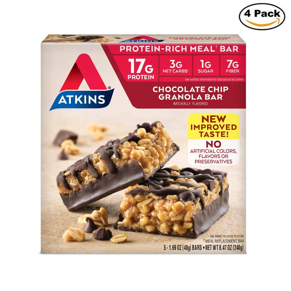 Atkins Protein-Rich Meal Bar, Chocolate Chip Granola, 5 Count each pack - 8.4 Ounce (Pack of 4)