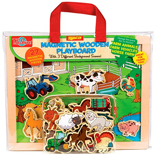 T.S. Shure Farm Animals, Horses & Vehicles Wooden Magnetic Playboard Set ()