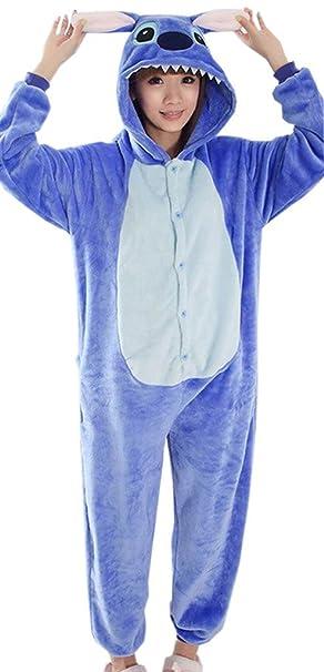 Y-BOA - Pelele con capucha para hombre/mujer terciopelo Epais stitch2 azul Talla S: Amazon.es: Ropa y accesorios
