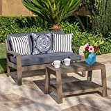 Christian Outdoor Grey Finished Acacia Wood Loveseat and Coffee Table Set with Dark Grey Water Resistant Cushions For Sale