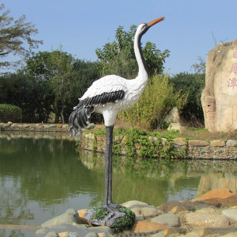 Yangyang Grulla de Corona Roja 1M Estatua Jardín al Aire Libre Adornos de Resina Escultura Modelo de Pájaro para la Decoración del Hogar Colección
