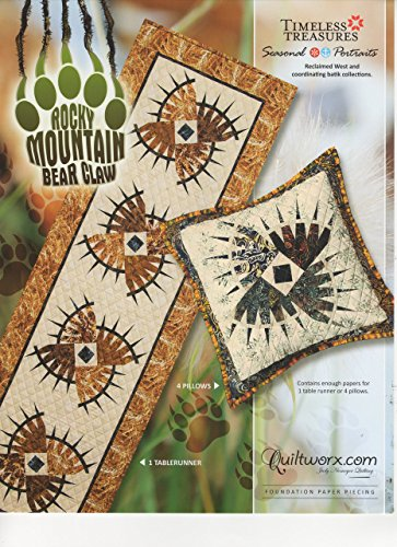 "Grizzly Sewing Patterns - Rocky Mountain Bear Claw Table Runner and Pillows - Foundation Paper Piecing Pattern by Judy Niemeyer – 72"" x 21"" Table Runner –"