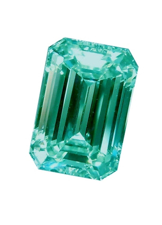 RINGJEWEL 16.88 ct VS1 Loose Moissanite Emerald-Cut Use 4 Pendant/Ring Blueish Green Color
