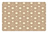 Lunarable Ivory Pet Mat for Food and Water, Arabesque Motifs of Eastern Cultures Ornamental Lace Patterned Swirled Lines, Rectangle Non-Slip Rubber Mat for Dogs and Cats, Beige Ivory Brown