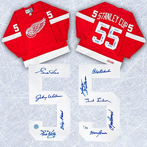 1955 Detroit Red Wings Team Signed Cup Jersey #/55-9 Autographs Gordie Howe - Autographed NHL Jerseys