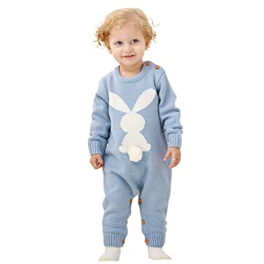 ab90e489f80e mimixiong Baby Sweater Toddler Jumpsuits Kid's Knitted Bunny Romper for  Easter Christmas (0-6Months