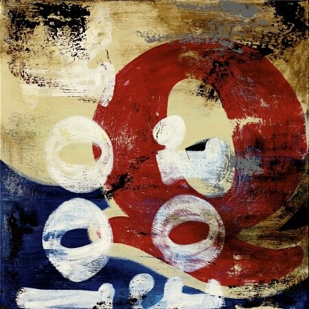 36W x 36H Letter Q by Rodney White - Stretched Canvas w/ BRUSHSTROKES