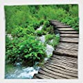 Vipsung Microfiber Ultra Soft Hand Towel-House Decor Collection Path And Waterfall Board In Croatia Cascade Garden Lake Fence Peaceful View For Hotel Spa Beach Pool Bath