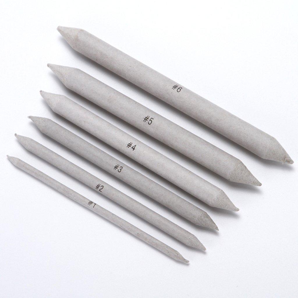 Toygogo 6pcs Blending Tortillon Stump Sketch 6 Size Art Drawing Tool Pastel Charcoal