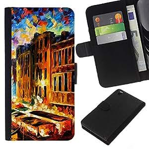 KingStore / Leather Etui en cuir / HTC DESIRE 816 / Pintura Impresionismo Casas Canal de Venecia